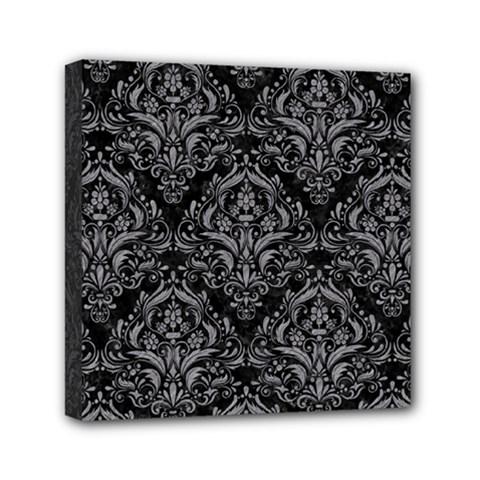 Damask1 Black Marble & Gray Colored Pencil Mini Canvas 6  X 6