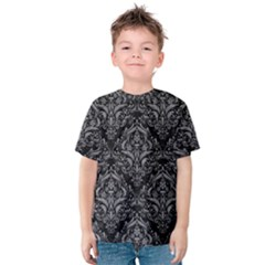 Damask1 Black Marble & Gray Colored Pencil Kids  Cotton Tee