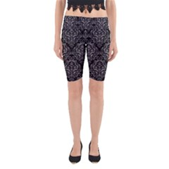 Damask1 Black Marble & Gray Colored Pencil Yoga Cropped Leggings