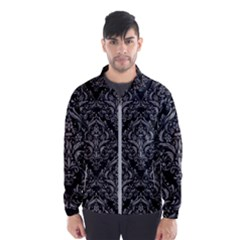 Damask1 Black Marble & Gray Colored Pencil Wind Breaker (men)