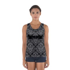 Damask1 Black Marble & Gray Colored Pencil Sport Tank Top