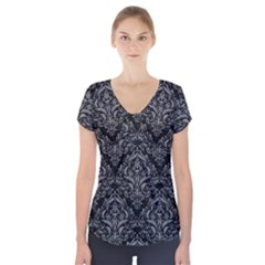 Damask1 Black Marble & Gray Colored Pencil Short Sleeve Front Detail Top