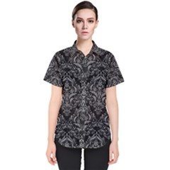 Damask1 Black Marble & Gray Colored Pencil Women s Short Sleeve Shirt