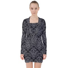 Damask1 Black Marble & Gray Colored Pencil V Neck Bodycon Long Sleeve Dress