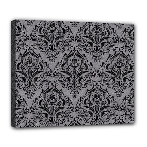 Damask1 Black Marble & Gray Colored Pencil (r) Deluxe Canvas 24  X 20