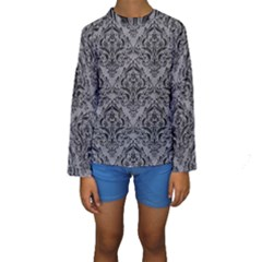 Damask1 Black Marble & Gray Colored Pencil (r) Kids  Long Sleeve Swimwear
