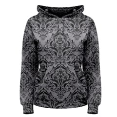 Damask1 Black Marble & Gray Colored Pencil (r) Women s Pullover Hoodie