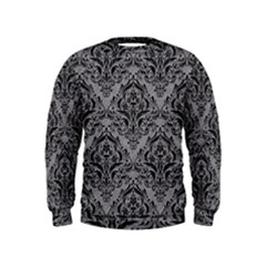 Damask1 Black Marble & Gray Colored Pencil (r) Kids  Sweatshirt