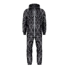 Damask1 Black Marble & Gray Colored Pencil (r) Hooded Jumpsuit (kids)
