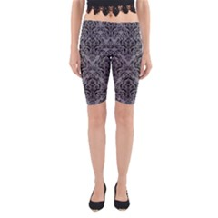 Damask1 Black Marble & Gray Colored Pencil (r) Yoga Cropped Leggings