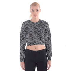 Damask1 Black Marble & Gray Colored Pencil (r) Cropped Sweatshirt