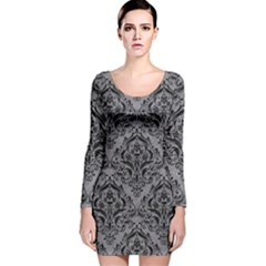 Damask1 Black Marble & Gray Colored Pencil (r) Long Sleeve Velvet Bodycon Dress