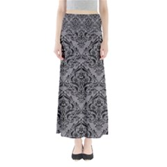 Damask1 Black Marble & Gray Colored Pencil (r) Full Length Maxi Skirt
