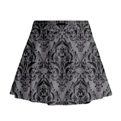 Damask1 Black Marble & Gray Colored Pencil (r) Mini Flare Skirt