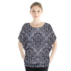 Damask1 Black Marble & Gray Colored Pencil (r) Blouse