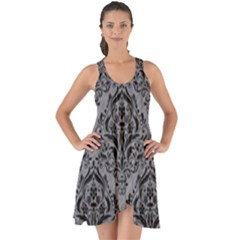 Damask1 Black Marble & Gray Colored Pencil (r) Show Some Back Chiffon Dress