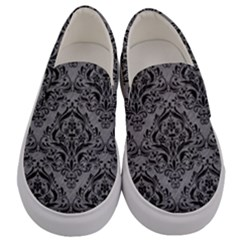Damask1 Black Marble & Gray Colored Pencil (r) Men s Canvas Slip Ons