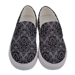 Damask1 Black Marble & Gray Colored Pencil (r) Women s Canvas Slip Ons