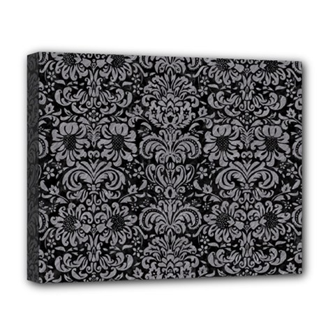 Damask2 Black Marble & Gray Colored Pencil Deluxe Canvas 20  X 16