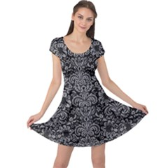 Damask2 Black Marble & Gray Colored Pencil Cap Sleeve Dress