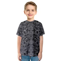 Damask2 Black Marble & Gray Colored Pencil Kids  Sport Mesh Tee