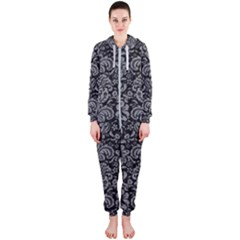 Damask2 Black Marble & Gray Colored Pencil Hooded Jumpsuit (ladies)