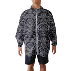 Damask2 Black Marble & Gray Colored Pencil Wind Breaker (kids)