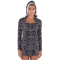 Damask2 Black Marble & Gray Colored Pencil Long Sleeve Hooded T Shirt