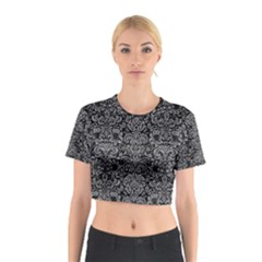 Damask2 Black Marble & Gray Colored Pencil Cotton Crop Top