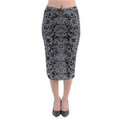 Damask2 Black Marble & Gray Colored Pencil Midi Pencil Skirt
