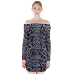 Damask2 Black Marble & Gray Colored Pencil Long Sleeve Off Shoulder Dress