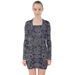Damask2 Black Marble & Gray Colored Pencil V Neck Bodycon Long Sleeve Dress