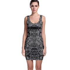 Damask2 Black Marble & Gray Colored Pencil (r) Bodycon Dress