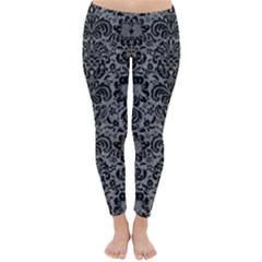 Damask2 Black Marble & Gray Colored Pencil (r) Classic Winter Leggings