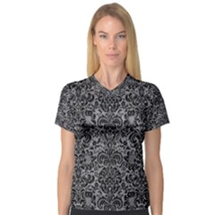 Damask2 Black Marble & Gray Colored Pencil (r) V Neck Sport Mesh Tee