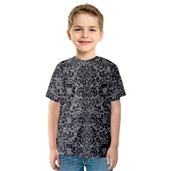 Damask2 Black Marble & Gray Colored Pencil (r) Kids  Sport Mesh Tee