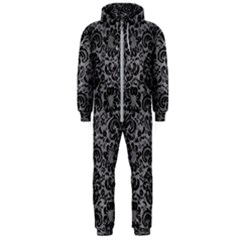 Damask2 Black Marble & Gray Colored Pencil (r) Hooded Jumpsuit (men)