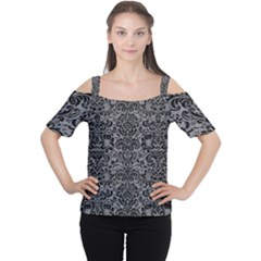 Damask2 Black Marble & Gray Colored Pencil (r) Cutout Shoulder Tee