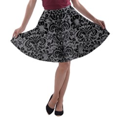 Damask2 Black Marble & Gray Colored Pencil (r) A Line Skater Skirt