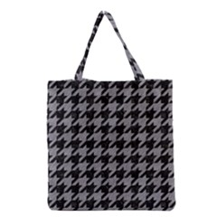 Houndstooth1 Black Marble & Gray Colored Pencil Grocery Tote Bag