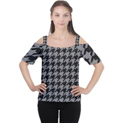 Houndstooth1 Black Marble & Gray Colored Pencil Cutout Shoulder Tee