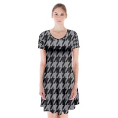 Houndstooth1 Black Marble & Gray Colored Pencil Short Sleeve V Neck Flare Dress