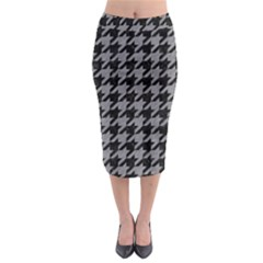 Houndstooth1 Black Marble & Gray Colored Pencil Midi Pencil Skirt