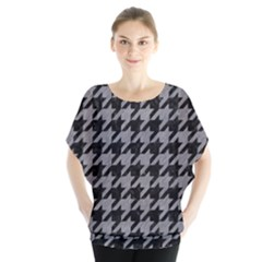 Houndstooth1 Black Marble & Gray Colored Pencil Blouse