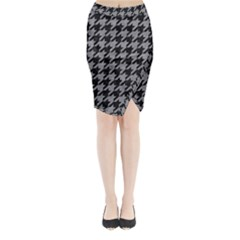 Houndstooth1 Black Marble & Gray Colored Pencil Midi Wrap Pencil Skirt