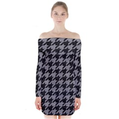 Houndstooth1 Black Marble & Gray Colored Pencil Long Sleeve Off Shoulder Dress