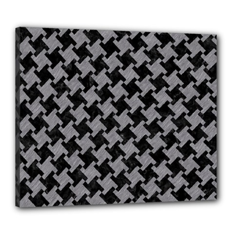 Houndstooth2 Black Marble & Gray Colored Pencil Canvas 24  X 20