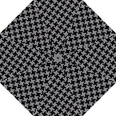 Houndstooth2 Black Marble & Gray Colored Pencil Golf Umbrellas