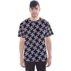 Houndstooth2 Black Marble & Gray Colored Pencil Men s Sports Mesh Tee