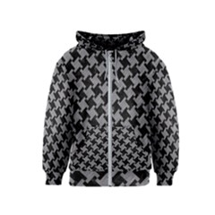 Houndstooth2 Black Marble & Gray Colored Pencil Kids  Zipper Hoodie